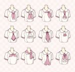6+girls ascot checkered checkered_background collared_shirt cropped_torso flower highres multiple_girls neckerchief original pink_background pink_neckwear rose sakura_oriko shirt short_sleeves white_flower white_rose white_shirt