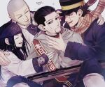 1girl 3boys absurdres ainu_clothes arisaka arm_around_shoulder asirpa bandana black_eyes black_hair black_headwear blue_jacket blue_pants bolt_action buzz_cut cloak closed_eyes closed_mouth dated earrings facial_hair fingerless_gloves gloves goatee golden_kamuy grey_hair gun hair_slicked_back hair_strand hat highres hoop_earrings imperial_japanese_army jacket jewelry kepi long_hair long_sleeves looking_at_another military military_hat military_uniform multiple_boys ogata_hyakunosuke open_mouth pants profile rifle sash scar scar_on_face scarf shiraishi_yoshitake short_hair sideburns sideways_glance simple_background smile sugimoto_saichi uniform upper_body very_short_hair weapon white_background white_cloak white_footwear white_jacket yellow_scarf yuu_(isis7796)