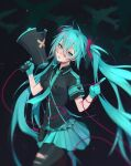 1girl aircraft airplane black_legwear black_shirt blue_eyes blue_gloves blue_hair blue_skirt blurry blush closed_mouth commentary cowboy_shot depth_of_field english_commentary finger_on_trigger gloves hair_between_eyes hand_up hands_up hatsune_miku head_tilt heart heart_print highres holding holding_megaphone index_finger_raised lavelis long_hair looking_at_viewer megaphone miniskirt pantyhose pouch shirt short_sleeves signature skirt solo string string_of_fate torn_clothes torn_legwear twintails very_long_hair vocaloid