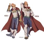 2boys addy_(@vegeebs) age_progression arm_behind_head blonde_hair blue_eyes blue_pants blush bodysuit boku_no_hero_academia boots contrapposto covered_abs covered_navel full_body highres knee_boots male_focus multiple_boys muscular muscular_male pants pectorals salute short_hair smile spiky_hair thighs tight tight_pants togata_mirio toned toned_male two-finger_salute white_bodysuit