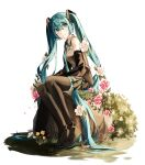 1girl absurdly_long_hair absurdres bangs black_footwear black_sleeves blue_eyes blue_hair blue_neckwear boots closed_mouth collared_shirt detached_sleeves eyebrows_visible_through_hair flower full_body grey_shirt grey_skirt hair_between_eyes hair_flower hair_ornament hatsune_miku highres iryu8_21 long_hair long_sleeves looking_up miniskirt necktie pink_flower pleated_skirt shirt simple_background sitting skirt sleeveless sleeveless_shirt smile solo thigh-highs thigh_boots twintails very_long_hair vocaloid white_background white_flower wing_collar zettai_ryouiki