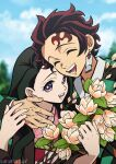 1boy 1girl :d black_hair brown_hair checkered closed_eyes earrings hair_ribbon haori highres japanese_clothes jewelry kamado_nezuko kamado_tanjirou kimetsu_no_yaiba kimono long_hair long_sleeves looking_at_viewer official_style onomari546 open_mouth pink_eyes pink_kimono ribbon scar scar_on_face scar_on_forehead smile very_long_hair