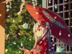 1girl bell blurry blurry_background closed_mouth double_bun eyebrows_visible_through_hair film_grain floral_print hair_bell hair_between_eyes hair_ornament highres hitodama holding holding_umbrella hololive horns japanese_clothes kimono kouhaku_nawa koyuki_ekaki long_hair looking_to_the_side mask mask_on_head multicolored_hair nakiri_ayame oil-paper_umbrella oni oni_horns oni_mask red_eyes redhead sash silver_hair solo streaked_hair umbrella upper_body virtual_youtuber