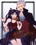 1boy 1girl archer bangs bat_hair_ornament black_hair black_ribbon blue_eyes blue_flower cape choker collarbone commentary_request cowboy_shot dark_skin dress fangs fate/stay_night fate_(series) flower grey_hair hair_ornament halloween halloween_costume hand_on_hip hands_up highres hover_hand jack-o'-lantern long_hair looking_at_viewer nail_polish open_mouth red_cape red_dress red_nails red_vest ribbon shimatori_(sanyyyy) tohsaka_rin torn_cape torn_clothes two-sided_cape two-sided_fabric two_side_up vampire_costume vest white_background