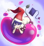 1girl :d blob blue_background blue_eyes blue_hair book bright_pupils clouds commentary_request commission demon_tail doremy_sweet dream_soul dress eyebrows_visible_through_hair floating floating_book floating_object gradient gradient_background hands_on_own_cheeks hands_on_own_face hat highres iwatobi_hiro looking_at_viewer lying nightcap on_stomach open_mouth pom_pom_(clothes) purple_capelet purple_skirt red_headwear short_hair simple_background skeb_commission skirt smile solo tail tapir_tail touhou white_dress