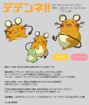 >_< atte7kusa closed_eyes closed_mouth commentary_request dedenne fang fang_out gen_6_pokemon grey_background highres holding holding_tail multiple_views no_humans number open_mouth pokemon pokemon_(creature) smile substitute_(pokemon) tail translation_request