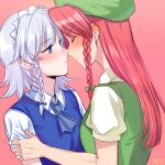 2girls blue_dress blue_eyes blush braid china_dress chinese_clothes coonut dress hair_ribbon hat hat_ornament hong_meiling imminent_kiss izayoi_sakuya long_hair maid_headdress multiple_girls puffy_short_sleeves puffy_sleeves redhead ribbon short_hair short_sleeves silver_hair touhou yuri