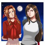2girls aerith_gainsborough arms_behind_back black_hair braid brown_hair deviantart final_fantasy final_fantasy_vii green_eyes happy long_hair looking_at_viewer moon multicolored_sweater night night_sky ponytail red_eyes red_shirt sincity2100 smile stars tifa_lockhart