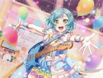 bang_dream! blue_eyes blue_hair blush dress guitar hikawa_hina short_hair smile