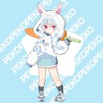 absurdres animal_ears blue_hair blush braid carrot chibi food food_themed_weapon highres holding holding_food hololive hood hood_up hoodie looking_at_viewer nga_(kashi_mille) rabbit_ears rabbit_girl red_eyes shoes short_eyebrows sleeves_past_fingers sleeves_past_wrists sneakers standing twin_braids usada_pekora v-shaped_eyebrows virtual_youtuber white_hoodie