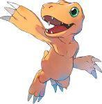 agumon airborne arm_up claws creature digimon digimon_survive full_body green_eyes lowres no_humans official_art open_mouth reptile shiny shiny_skin smile solo tail teeth tongue transparent_background ukumo_uichi