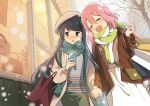 2girls bag beret blue_hair blush building cellphone closed_eyes clouds cloudy_sky commentary couple embarrassed handbag hat highres holding holding_hands holding_phone hotaru_iori jacket kagamihara_nadeshiko long_hair looking_at_phone looking_to_the_side medium_hair multiple_girls open_mouth outdoors pants phone pink_hair scarf shima_rin shirt shop shopping_bag skirt sky smartphone smile snow storefront tree violet_eyes walking window winter yuri yurucamp