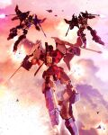3boys airplane_wing arm_cannon clenched_hands clouds cybertronwar decepticon english_commentary explosion firing flame_toys flying glowing glowing_eyes highres looking_down mecha multiple_boys no_humans red_eyes sky skywarp starscream thundercracker transformers weapon