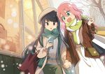 2girls :d bag beret blue_hair blush building cellphone clouds cloudy_sky commentary couple green_eyes handbag hat highres holding holding_hands holding_phone hotaru_iori jacket kagamihara_nadeshiko long_hair looking_at_phone medium_hair multiple_girls open_mouth outdoors pants phone pink_hair scarf shima_rin shirt shop shopping_bag skirt sky smartphone smile snow storefront tree violet_eyes walking window winter yuri yurucamp