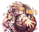 1boy 2021 2girls absurdres alternate_costume animal blonde_hair character_request chinese_new_year foreshortening from_side granblue_fantasy green_eyes happy_new_year highres lion_dance multiple_girls muscular muscular_male new_year one_eye_closed oneirio pectorals petals scarf short_hair smile vane_(granblue_fantasy)