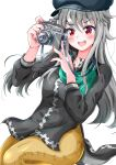 1girl alice_gear_aegis bangs blush camera eggman_(pixiv28975023) eyebrows_visible_through_hair fang grey_hair hair_between_eyes hands_up hat highres holding holding_camera jinguuji_mari long_hair long_sleeves looking_at_object open_mouth red_eyes simple_background upper_teeth white_background