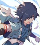 1boy bangs black_hair clenched_hand commentary_request falkner_(pokemon) feathers gym_leader hair_over_one_eye japanese_clothes male_focus open_mouth pokemon pokemon_(game) pokemon_hgss sash short_hair solo tongue tpi_ri wristband