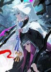 1boy 1girl alchemaniac black_robe blue_background braid character_request closed_mouth earrings fate/grand_order fate_(series) feather_earrings feathers flower_knot from_side hair_between_eyes height_difference highres holding holding_staff hood hood_up hooded_robe jewelry long_hair merlin_(fate) profile purple_hair red_eyes smile staff white_hair white_robe