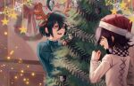 2boys antlers bangs black_hair black_jacket blurry blurry_background brown_eyes character_print checkered checkered_scarf christmas christmas_ornaments christmas_tree commentary danganronpa_(series) danganronpa_v3:_killing_harmony hair_between_eyes hair_ornament hairband hat highres jacket long_sleeves looking_at_another male_focus medium_hair monokuma multiple_boys open_mouth ouma_kokichi remonoart saihara_shuuichi santa_hat scarf short_hair striped_jacket turtleneck upper_teeth white_jacket