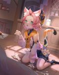 1girl absurdres animal_ears bare_shoulders beer_mug cabbie_hat cat_ears cat_tail cup diona_(genshin_impact) food genshin_impact green_eyes hair_ornament hat highres holding holding_food kato(kato) long_sleeves mug open_mouth paw_print pink_hair shorts solo_focus spill tail tied_hair