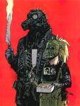 absurdres armor dorohedoro food highres jacket kaiman_(dorohedoro) knife mask nikaidou_(dorohedoro) q._hayashida simple_background standing