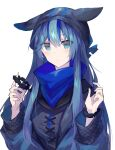 1girl alternate_hairstyle animal_ears animal_hat arknights bangs beanie blue_eyes blue_hair blue_headwear blue_jacket blue_scarf blue_theme blush closed_mouth commentary_request cross-laced_clothes eyebrows_visible_through_hair eyes_visible_through_hair fake_animal_ears glaucus_(arknights) hair_between_eyes hands_up hat holding jacket knit_hat long_hair long_sleeves looking_at_viewer multicolored_hair sasa_onigiri scarf scrunchie simple_background solo streaked_hair upper_body white_background wrist_scrunchie