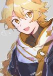 1boy absurdres aether_(genshin_impact) bangs blonde_hair blush braid braided_ponytail eyebrows_visible_through_hair genshin_impact hair_between_eyes heart highres huge_filesize long_hair looking_at_viewer male_focus mamt56 open_mouth scarf single_braid smile solo yellow_eyes