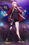 crown dolphin_shorts flag highres holding holding_scythe hololive hololive_english jacket long_hair m._lee_lunsford mori_calliope pink_hair red_eyes scythe shoes shorts single_leg_pantyhose skeleton skull_print snapping_fingers sneakers tank_top tilted_headwear virtual_youtuber