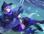 1girl animal_ears arknights bangs belt black_footwear blue_eyes blue_hair blue_jacket commentary_request glaucus_(arknights) hair_between_eyes holding holding_weapon hood jacket long_sleeves multicolored_hair parted_lips sasa_onigiri sea_slug solo streaked_hair thigh-highs underwater weapon