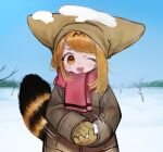 1girl ;d absurdres alternate_costume bare_tree blonde_hair blue_sky blush coat day fang gloves grey_coat hat highres huge_filesize kemono_friends long_sleeves looking_at_viewer motion_lines notora one_eye_closed open_mouth outdoors pillow_hat pink_scarf scarf serval_(kemono_friends) serval_tail sky smile snow snow_on_head snowball solo striped_tail tail tree winter winter_clothes winter_coat yellow_eyes yellow_gloves