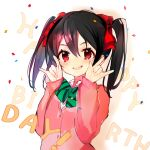 1girl :d \m/ atsumi_jun black_hair blush bow bowtie cardigan english_text green_neckwear hair_bow happy_birthday jacket long_sleeves looking_at_viewer love_live! love_live!_school_idol_project medium_hair nico_nico_nii open_mouth pink_cardigan pink_jacket red_bow red_eyes smile solo sweater_jacket twintails upper_teeth yazawa_nico