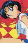 1990s_(style) bishoujo_senshi_sailor_moon blue_hair cosplay earrings head_tilt jewelry leotard looking_at_viewer mizuno_ami official_art sailor_mercury sailor_mercury_(cosplay) short_hair smile solo stud_earrings tiara