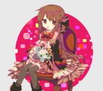 1girl :d bow brown_eyes brown_hair chair dress eyebrows_visible_through_hair frilled_dress frilled_sleeves frills hair_ribbon long_sleeves magia_record:_mahou_shoujo_madoka_magica_gaiden mahou_shoujo_madoka_magica momomotsu open_mouth red_bow red_ribbon ribbon satomi_touka sitting sleeves_past_fingers sleeves_past_wrists smile socks solo stuffed_animal stuffed_toy teddy_bear thigh-highs