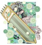 1girl armor armored_boots belt boots breastplate crown eyebrows_visible_through_hair flower futaba_sana green_eyes green_flower green_hair green_sweater green_theme highres magia_record:_mahou_shoujo_madoka_magica_gaiden magical_girl mahou_shoujo_madoka_magica momomotsu shield short_twintails skirt solo sweater tearing_up turtleneck turtleneck_sweater twintails