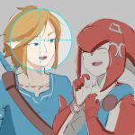 1boy 1girl ^_^ automatic_giraffe blue_eyes blue_tunic brown_hair closed_eyes colored_skin commentary english_commentary fish_girl head_fins laughing link mipha monster_girl multicolored multicolored_skin no_eyebrows pointy_ears red_skin reticule scope the_legend_of_zelda the_legend_of_zelda:_breath_of_the_wild zora