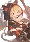 1girl :3 alchemaniac animal_hood black_capelet blonde_hair brown_eyes capelet cat_hood cat_tail djeeta_(granblue_fantasy) gloves granblue_fantasy highres holding hood hood_up hooded_capelet kuronekodoushi looking_at_viewer one_eye_closed paw_gloves paws short_hair smile solo tail