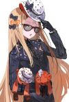1girl abigail_williams_(fate/grand_order) adapted_costume alchemaniac bandaid bandaid_on_forehead black-framed_eyewear black_bow black_gloves blonde_hair blue_jacket bow fate/grand_order fate_(series) gloves hand_up hat highres holding holding_clothes holding_hat holding_stuffed_toy jacket long_hair long_sleeves looking_at_viewer open_mouth orange_bow polka_dot polka_dot_bow polka_dot_headwear red_eyes simple_background solo stuffed_animal stuffed_toy sunglasses teddy_bear top_hat upper_body very_long_hair white_background white_headwear