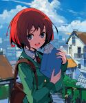 1girl :d alchemaniac bag blue_eyes blue_sky collared_shirt commentary copyright_request day english_commentary green_jacket highres holding house jacket long_sleeves looking_at_viewer necktie open_mouth outdoors red_neckwear redhead shirt shoulder_bag sky smile solo upper_body wing_collar