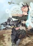 1girl aircraft airplane animal_ears black_ribbon blonde_hair caterpillar_tracks commentary_request gloves green_shirt ground_vehicle hair_ribbon headphones holding holding_weapon kws long_hair long_sleeves magic_circle military military_vehicle motor_vehicle outdoors ribbon shirt strike_witches tail tank weapon white_gloves world_witches_series