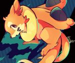 absurdres animal_focus artist_name black_eyes blue_background buizel commentary_request english_commentary full_body gen_4_pokemon heart highres huge_filesize looking_back mixed-language_commentary no_humans open_mouth partial_commentary pokemon pokemon_(creature) riri_(riri_nasinasi) signature solo whisker_markings