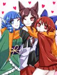 3girls animal_ears black_shirt blue_bow blue_hair bow brooch brown_hair cape cheek-to-cheek cloak dress drill_hair drill_locks floating_heart frilled_kimono frills grass_root_youkai_network green_kimono hair_bow head_fins heart highres imaizumi_kagerou japanese_clothes jewelry kae_(hyugafire) kimono long_hair long_sleeves monster_girl multiple_girls obi one_eye_closed red_cape red_cloak red_eyes redhead sash scarf sekibanki shared_scarf shirt short_hair simple_background touhou wakasagihime werewolf white_background white_dress wolf_ears