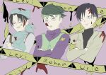 3boys angry black_hair commentary_request crossed_arms crossover diamond_wa_kudakenai english_text green_hair hairstyle_connection headband jitome jojo_no_kimyou_na_bouken kishibe_rohan levi_(shingeki_no_kyojin) male_focus multiple_boys shingeki_no_kyojin tokyo_ghoul unamused urie_kuki user_rsds8484