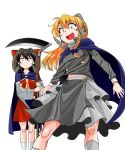 2girls bangs black_hair black_shirt blonde_hair blue_cape bow braid brown_eyes cape closed_mouth commentary_request cookie_(touhou) detached_sleeves eyebrows_visible_through_hair eyes_visible_through_hair feet_out_of_frame frilled_bow frills grey_skirt hair_between_eyes hair_bow hair_tubes hakurei_reimu highres holding holding_scythe horns kirisame_marisa long_hair long_sleeves looking_at_viewer mugi_(cookie) multiple_girls necktie nicoseiga13360928 nontraditional_miko open_mouth purple_bow red_bow red_shirt red_skirt rei_(cookie) ribbon-trimmed_sleeves ribbon_trim scythe sheep_horns shirt simple_background single_braid skirt sleeveless sleeveless_shirt socks touhou upper_teeth white_background white_legwear white_sleeves yellow_eyes yellow_neckwear