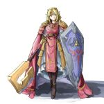1girl adapted_costume armor armored_dress automatic_giraffe belt blonde_hair blue_eyes boots brown_footwear cape circlet commentary dress english_commentary faulds full_body gloves hammer holding holding_hammer holding_shield holding_weapon huge_weapon jewelry long_hair multicolored multicolored_clothes multicolored_dress necklace pauldrons pearl_necklace pelvic_curtain pink_cape pink_dress pink_gloves pointy_ears princess_zelda shield shoulder_armor sidelocks solo super_smash_bros. the_legend_of_zelda triforce vambraces war_hammer weapon white_background white_dress