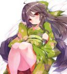 1girl alternate_costume bed blush bow brown_hair hair_bow highres japanese_clothes kimono long_hair lying red_eyes reiuji_utsuho smile solo third_eye touhou wings