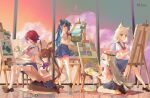 5girls :d :p absurdres amiya_(arknights) animal_ear_fluff animal_ears arknights artist_name blue_eyes blue_hair blue_sailor_collar blue_skirt bow breasts brown_footwear brown_hair brown_legwear canvas_(object) closed_mouth clothing_cutout commentary_request dated easel exusiai_(arknights) eyebrows_visible_through_hair full_body green_eyes hair_between_eyes hair_over_one_eye halo highres holding holding_paintbrush holding_palette holding_paper horns hoshiguma_(arknights) indoors kal'tsit_(arknights) loafers long_hair looking_at_viewer lynx_ears medium_breasts miniskirt mostima_(arknights) multiple_girls open_mouth paintbrush painting painting_(object) palette pantyhose paper purple_neckwear rabbit_ears red_bow red_eyes redhead sailor_collar school_uniform serafuku shirt shoes short_hair short_sleeves silver_hair sitting skadi_(arknights) skirt sky sleeveless sleeveless_shirt smile socks standing stool thigh-highs tongue tongue_out twintails very_long_hair white_legwear white_shirt window yvettechou