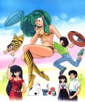 1980s_(style) 3girls 4boys arm_up bangs bikini black_eyes black_hair blue_eyes blue_skirt boots brown_hair cat dated dress eyebrows_visible_through_hair father fujinami_ryuunosuke green_hair knee_boots kotatsu-neko long_hair lum miyake_shinobu moroboshi_ataru multiple_boys multiple_girls official_art old old_man open_mouth outdoors pleated_skirt red_dress retro_artstyle sakura_(urusei_yatsura) sakuranbou_(urusei_yatsura) school_uniform short_sleeves skirt strapless strapless_bikini swimsuit tiger_stripes ufo urusei_yatsura