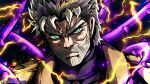 1boy beard coat electricity facial_hair green_eyes grey_hair hamon hermit_purple highres jojo_no_kimyou_na_bouken joseph_joestar lightning long_coat male_focus noonvincent old old_man plant serious silver_hair solo stand_(jojo) stardust_crusaders thorns turtleneck vines