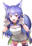 .live 1girl animal_ears breasts fang fingerless_gloves fingernails gloves hair_between_eyes hair_ornament highres long_hair open_mouth purple_hair rurun_rururica simple_background small_breasts solo tail thigh-highs virtual_youtuber white_background wolf_ears wolf_tail