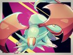 absurdres artist_name black_eyes border commentary_request dragon english_commentary full_body gen_3_pokemon grey_border heart highres huge_filesize mixed-language_commentary no_humans outside_border partial_commentary pokemon pokemon_(creature) purple_background riri_(riri_nasinasi) salamence signature simple_background solo standing wings